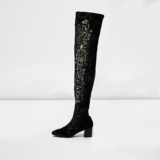 Black velvet embroidered over-the-knee boots