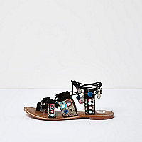 Black embellished suede coin sandals