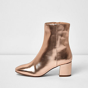 Rose gold block heel ankle boot