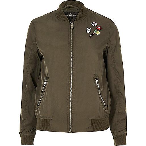 Khaki pin badge bomber jacket