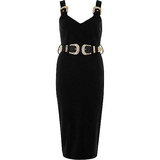 Black buckle bodycon dress