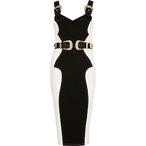 Cream panel buckle bodycon dress