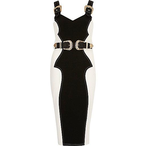 Cream panel buckle bodycon dress