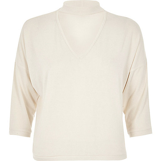 Cream boxy choker top