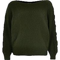 Khaki knit tie sleeve grazer sweater