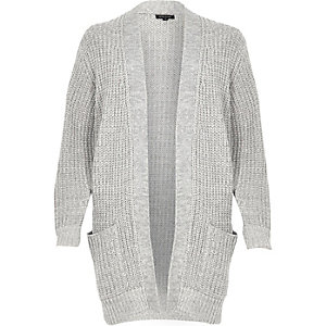 Grey oversized chunky knit cardigan