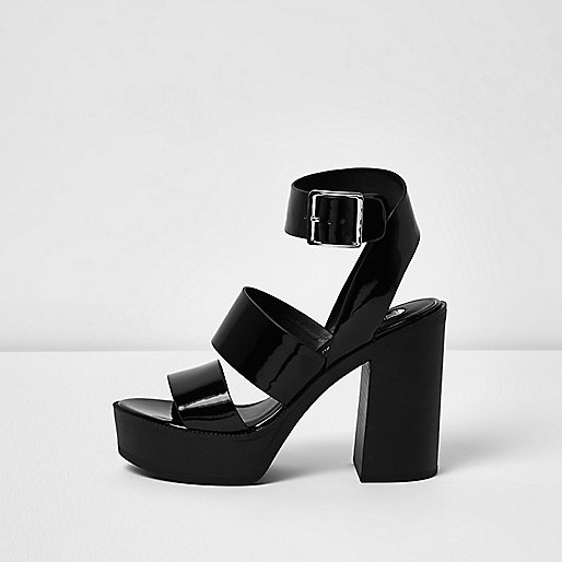 Black patent thick strappy platform heels