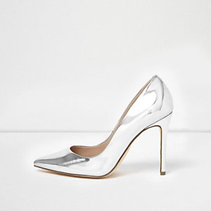 Silver patent court shoes