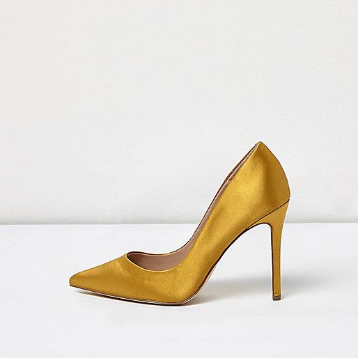 Gold satin court shoes