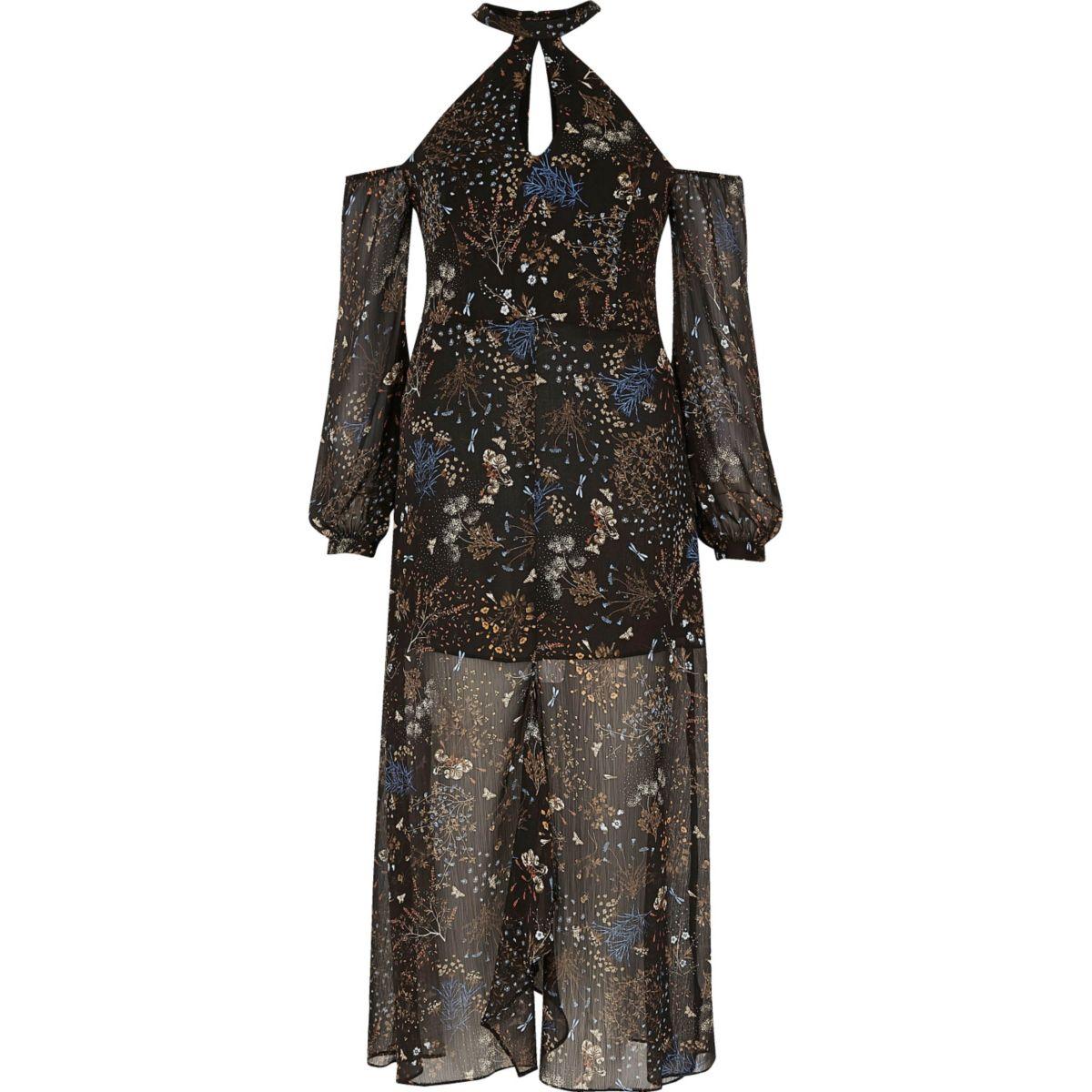 Zwarte schouderloze maxi-jurk met bloemenprint