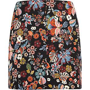 Plus red floral print mini skirt