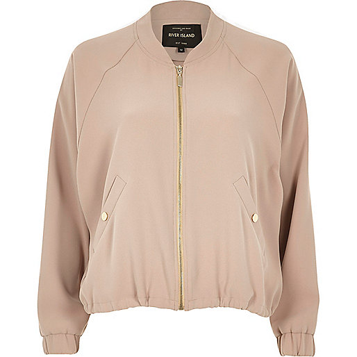 Pink draw cord bomber jacket