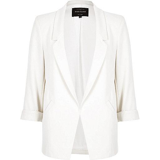 White roll sleeve blazer