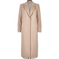 Manteau long cintré beige