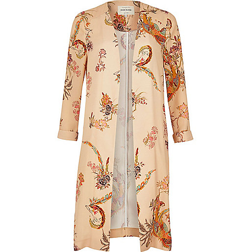 Cream print duster coat