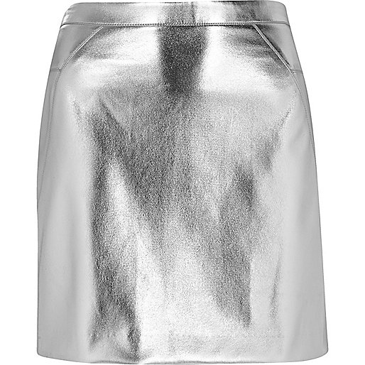 Silver mini skirt - mini skirts - skirts - women