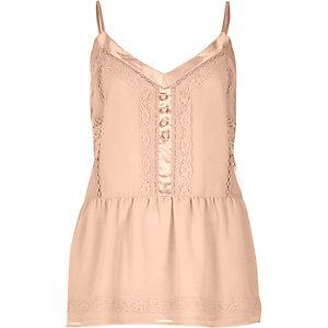 Blush pink lace peplum cami top