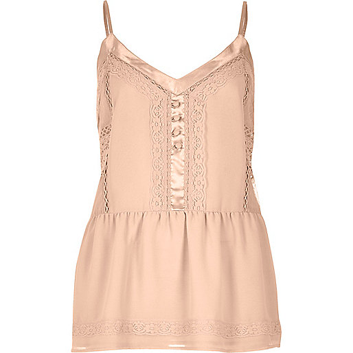 Blush pink lace peplum cami top