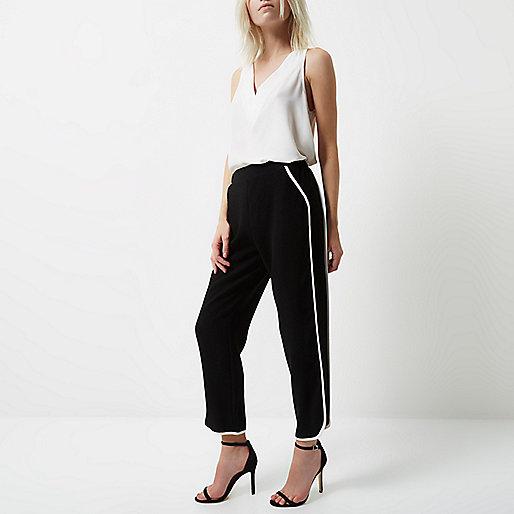 Petite black soft jogger trousers
