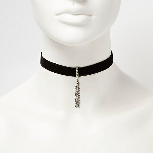 Black drop chain choker