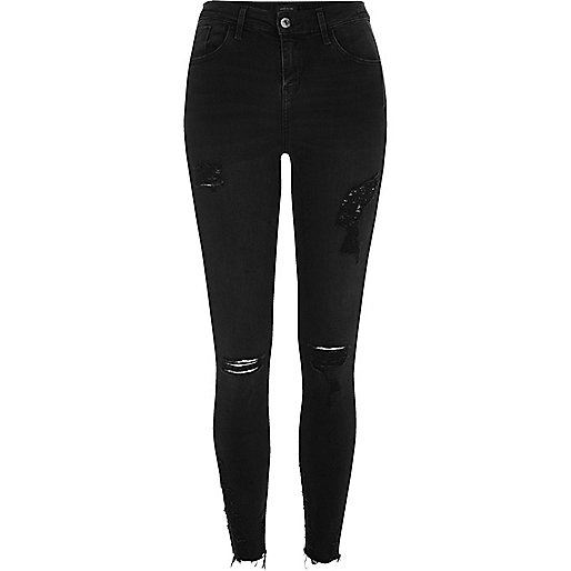 Amelie – Schwarze Superskinny Jeans im Used-Look