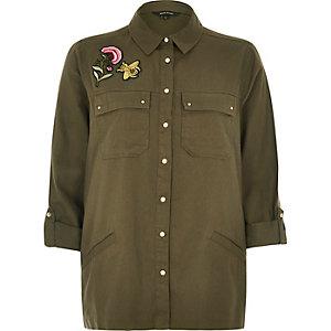 Khaki badge shacket