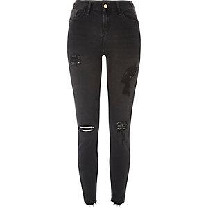 Black Amelie ripped stud super skinny jeans