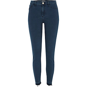 Petrol blue raw hem Molly jeggings