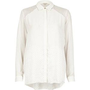 Cream panel relaxed shirt