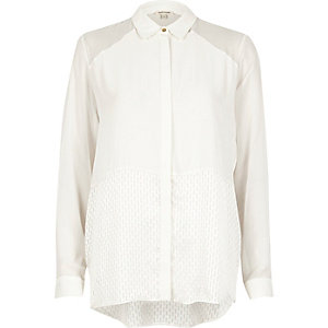 Cream panel relaxed shirt