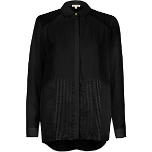 Black mesh panel relaxed shirt