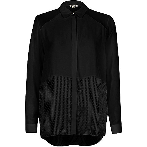 Black mesh panel relaxed shirt