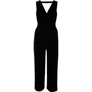 Black plunge V-neck jumpsuit