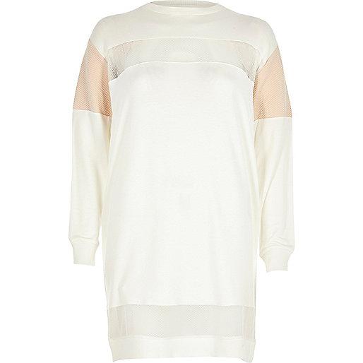 White mesh panel oversized sweatshirt