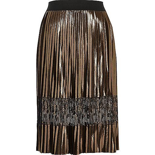 Gold metallic pleated lace midi skirt