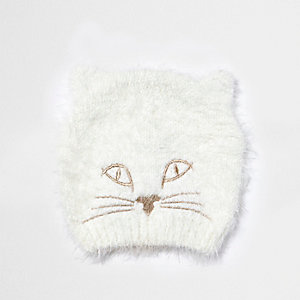 Cream furry kitty beanie