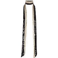 Black sequin stripe choker skinny scarf