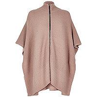 Blush pink ribbed zip poncho