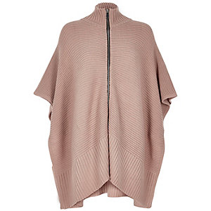 Blush pink ribbed zip poncho