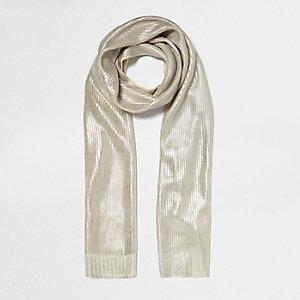 Cream metallic knit scarf