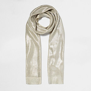 Crème metallic gebreide sjaal