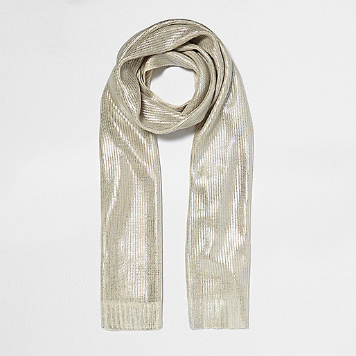 Cream metallic knit scarf