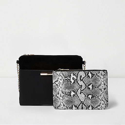 Black bag and snake print pouchette