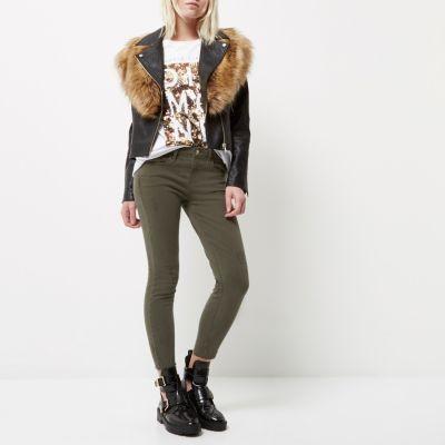Amelie kaki superskinny jeans voor kleine maten