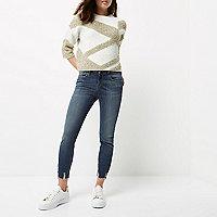 Petite blue wash Amelie super skinny jeans