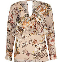 Floral long sleeve cape top