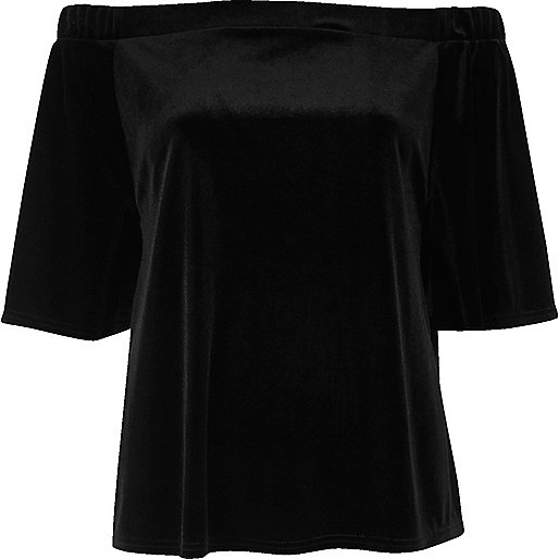 Black velvet mid sleeve bardot top