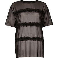 Black layered frill T-shirt