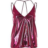 Metallic pink cami top