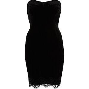 Black velvet lace trim bandeau dress